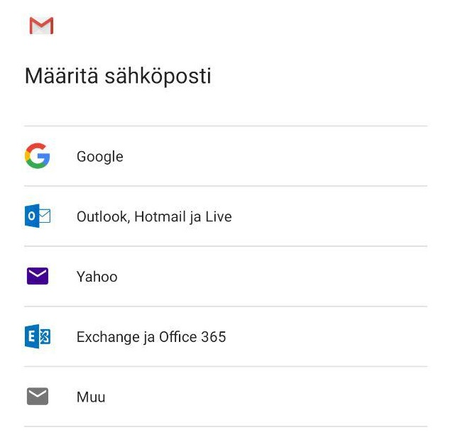 Määritä sähköpostilaatikon tyyppi