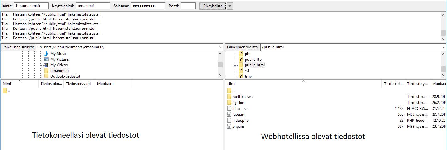 Tiedostonäkymä Filezillassa
