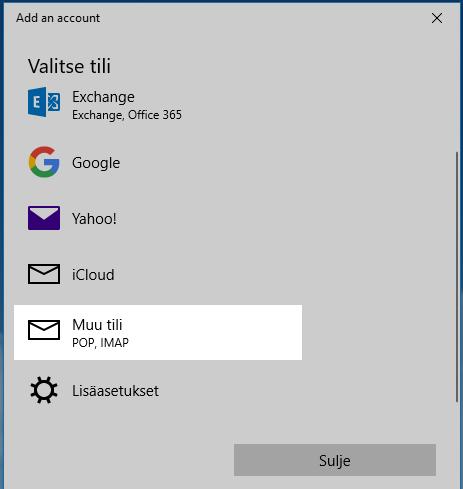Sähköpostilaatikon lisääminen - Windows 10 Sähköposti - Ohjeet - Webhotellit.com